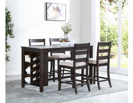 Brassex Elliot Collection 5-Piece Wood Dining Counter Set in Espresso TN-273