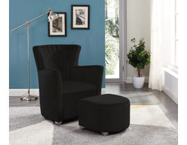 Brassex Fabric Accent Chair with Ottoman in Black 0711-BLK