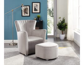 Brassex Fabric Accent Chair with Ottoman in Grey 0711-GR