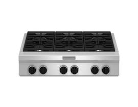 KitchenAid 36 inch 4 burner with grill gas rangetop commercial style in stainless steel KGCU462VSS