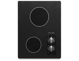 KitchenAid 15 inch electric cooktop with 2 radiant elements in black KECC056RBL