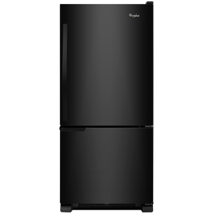 Whirlpool 30 inch 19 cu.ft. Bottom Freezer Refrigerator with LED Lighting in black WRB119WFBB