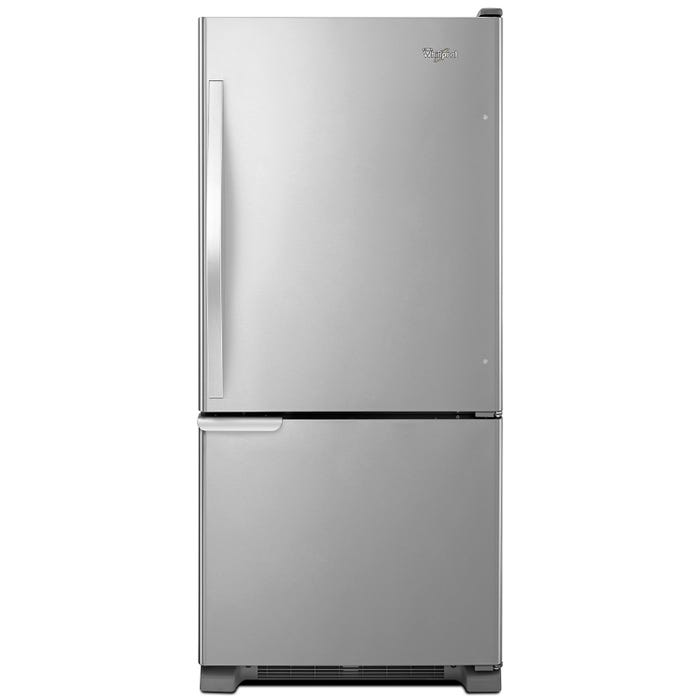 Whirlpool 30 inch 19 cu.ft. Bottom Freezer Refrigerator with LED Lighting in stainless steel WRB119WFBM