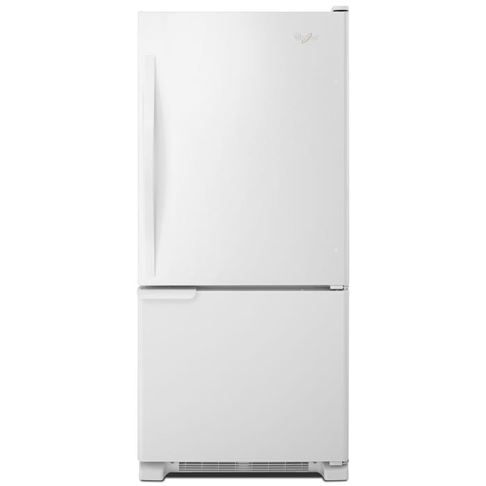Whirlpool 30 inch 19 cu.ft. Bottom Freezer Refrigerator with LED Lighting in white WRB119WFBW