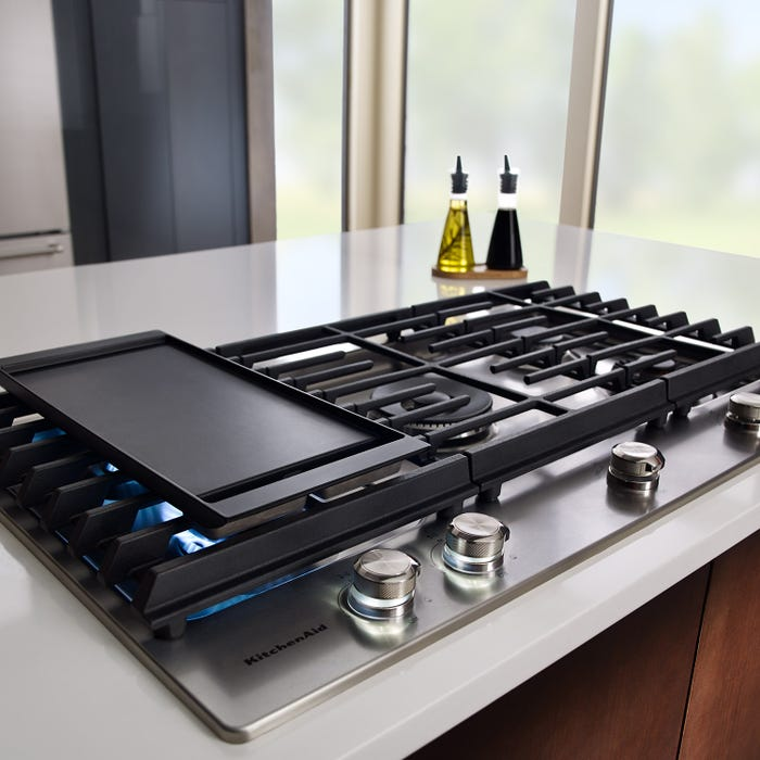 KitchenAid 36 inch 5 burner gas cooktop with griddle in stainless steel KCGS956ESS