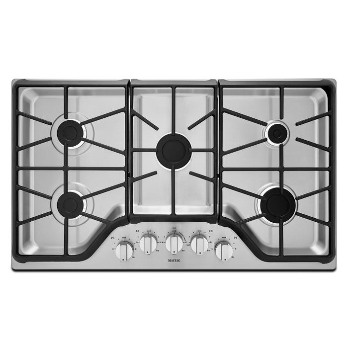 Maytag 36 inch 5 burner Gas Cooktop with Power Burner in stainless steel MGC7536DS