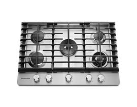 KitchenAid 30 inch 5 burner gas cooktop with griddle in stainless steel KCGS950ESS