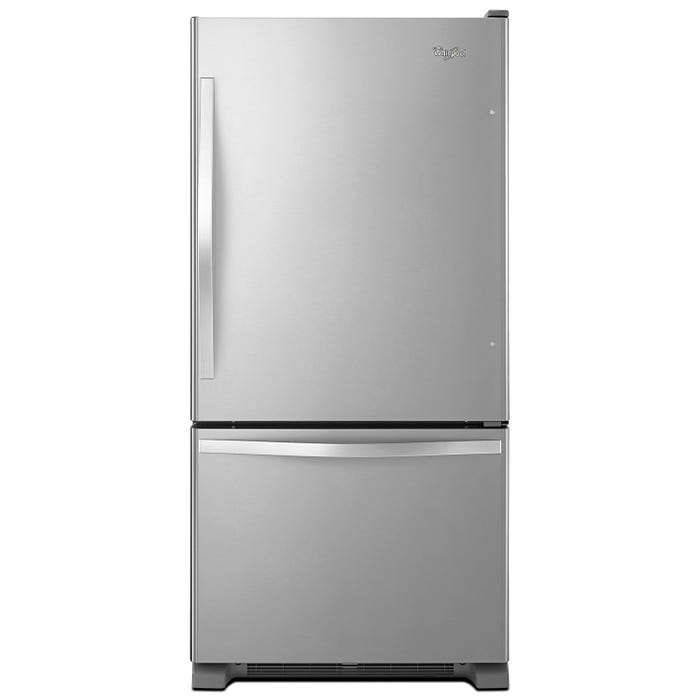 Whirlpool 30 inch 19 cu.ft. Bottom Freezer Refrigerator with Freezer Drawer in stainless steel WRB329RFBM
