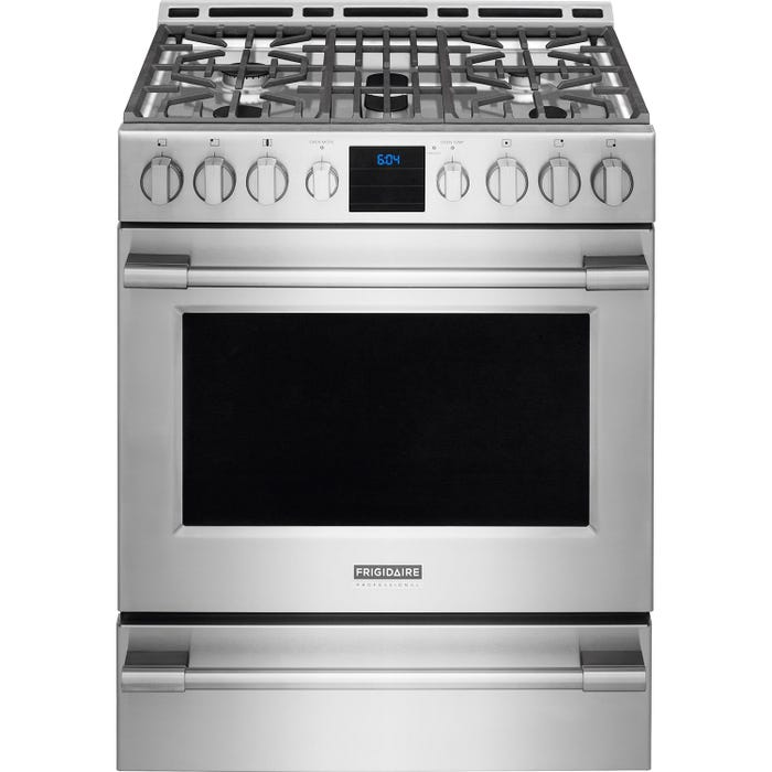 Frigidaire Professional 30 inch 5.1 cu.ft. Gas Front Control Freestanding in stainless steel FPGH3077RF
