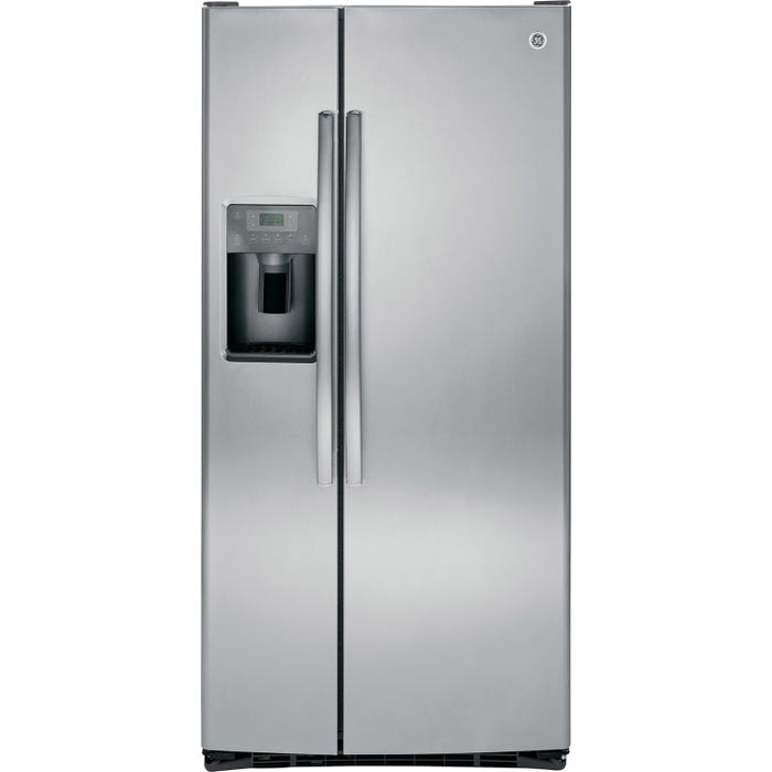 GE 33 inch 22.5 cu.ft. Side-by-Side Refrigerator with Water Dispenser in Stainless Steel GSS23HSHSS