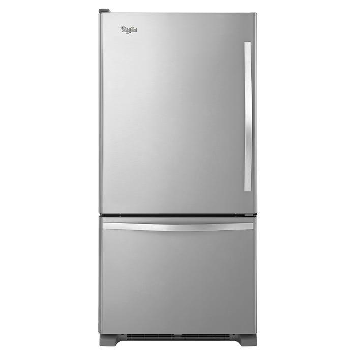 Whirlpool 30 inch 19 cu.ft. Bottom Freezer Refrigerator with Freezer Drawer in stainless steel WRB329LFBM