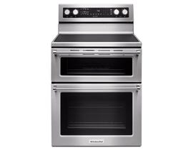 KitchenAid 30 inch 6.7 cu.ft. electric double oven convection range in stainless steel YKFED500ESS