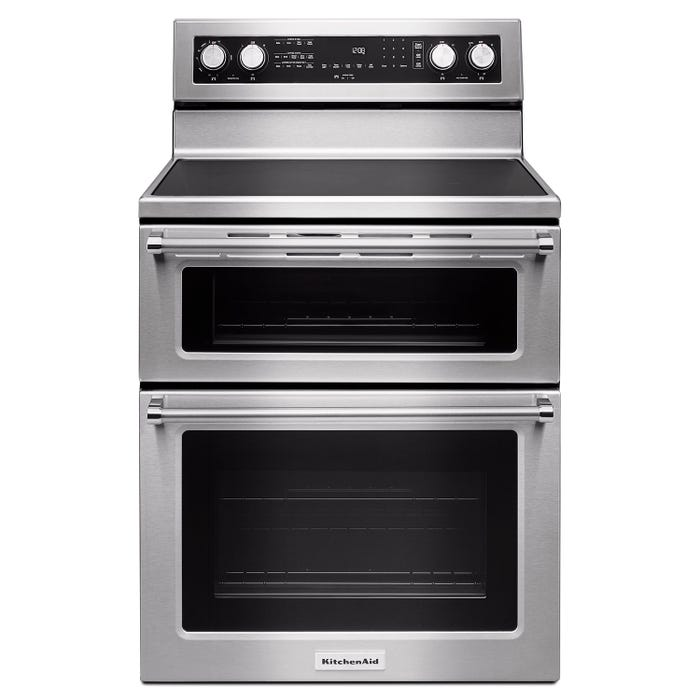 KitchenAid 30 inch 6 7 cu ft  electric double oven convection range in  stainless steel YKFED500ESS
