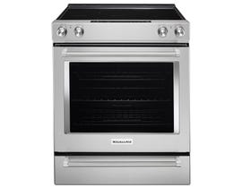 KitchenAid 30 inch 6.4 cu. ft. Convection Electric Range in Stainless Steel YKSEG700ESS