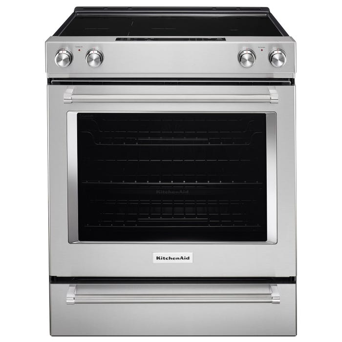 KitchenAid 30 inch 6.4 cu.ft. 5 element electric convection range in stainless steel YKSEG700ESS