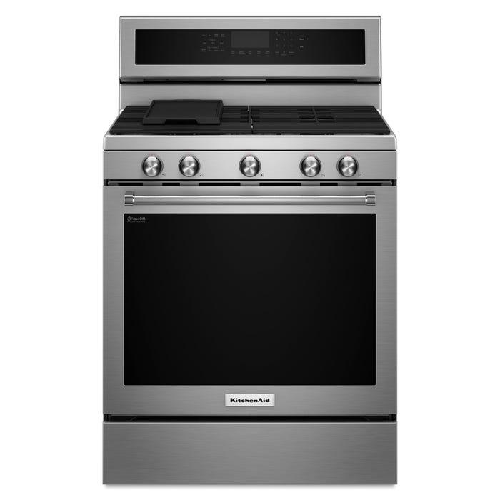 KitchenAid 30 inch 5.8 cu.ft. 5 burner gas convection range in stainless steel KFGG500ESS