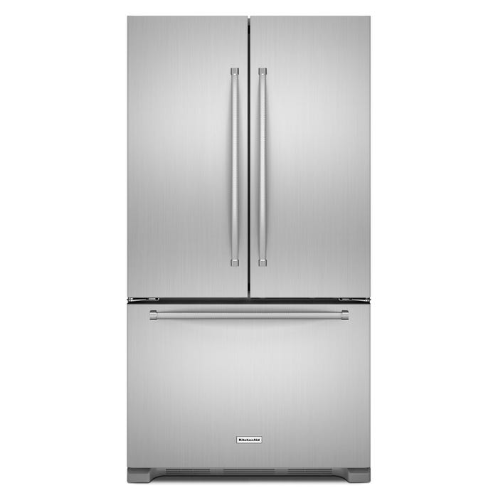 KitchenAid 36 inch 25 cu.ft. French Door Refrigerator in Stainless Steel KRFF305ESS