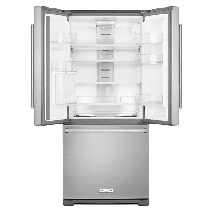 KitchenAid 30 inch 20 cu ft  French Door Refrigerator in Stainless Steel  KRFF300ESS