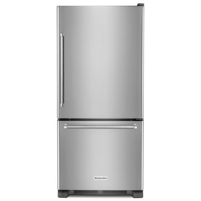 KitchenAid 30 inch 19 cu.ft. Full Depth Bottom Mount Refrigerator in stainless steel KRBR109ESS