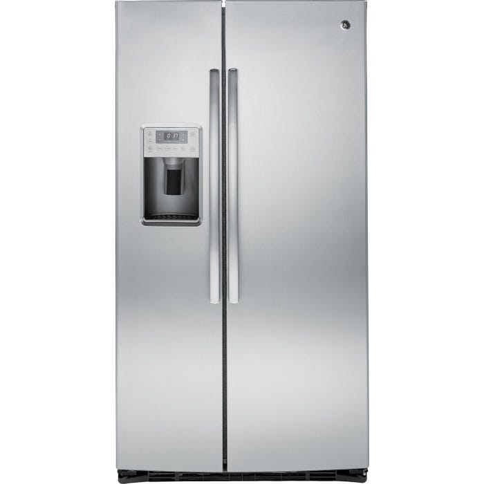 GE Profile 36 inch 25.3 cu. ft. side by side refrigerator with ice maker in stainless steel PSE25KSHSS