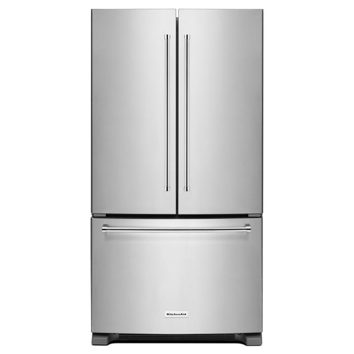 KitchenAid 36 inch 20 cu.ft Counter Depth French Door Refrigerator in stainless steel KRFC300ESS