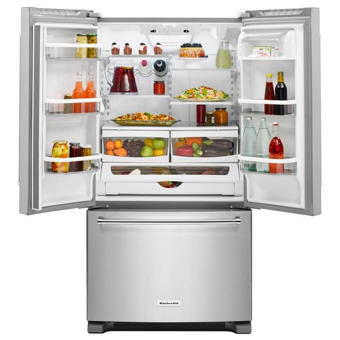 KitchenAid 36 inch 20 cu ft Counter Depth French Door Refrigerator in  stainless steel KRFC300ESS