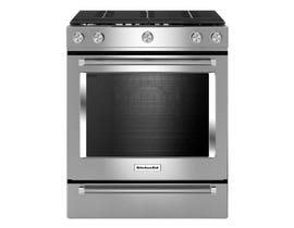 KitchenAid 30-inch 5.8 cu.ft. 5 burner gas convection range in stainless steel KSGG700ESS