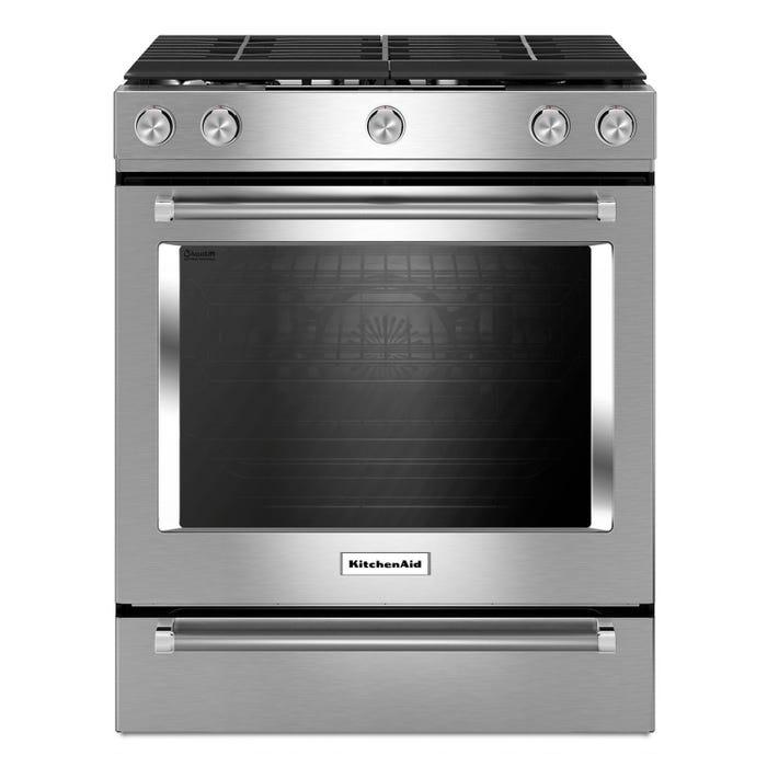 KitchenAid 30-inch 5.8 cu.ft. 5 burner gas convection range in stainless steel KSGG700ESS