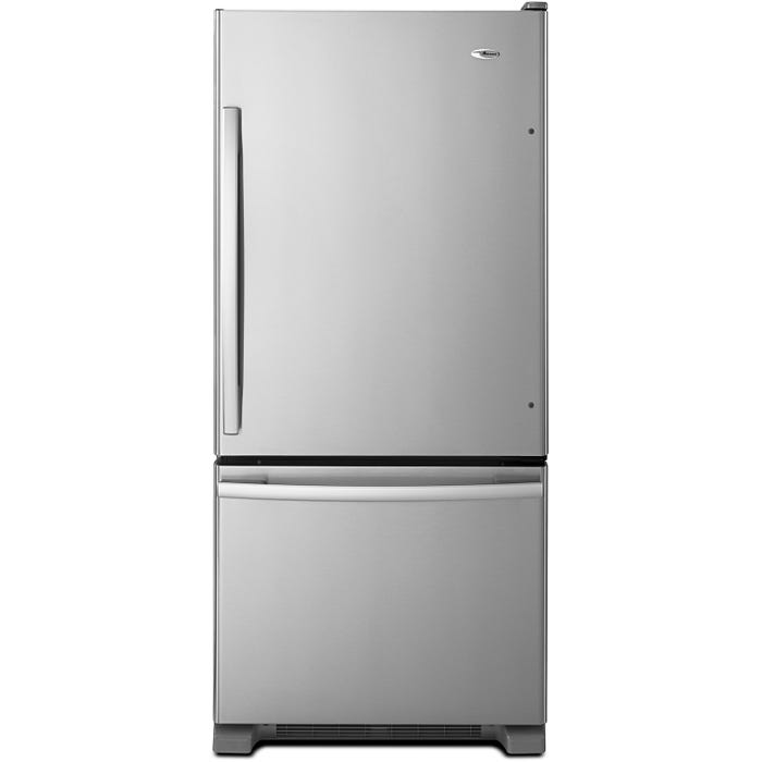 Amana 29 inch 18 cu. ft. Bottom-Freezer Refrigerator With EasyFreezer Pull-Out Drawer in Stainless Steel ABB1924BRM