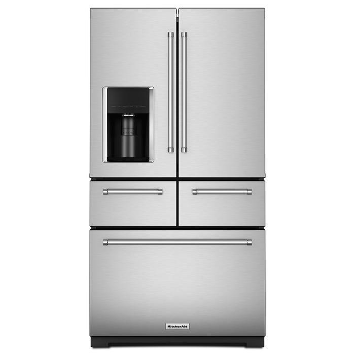 KitchenAid 36 inch 25.8 cu.ft. 5 Door Freestanding French Door Refrigerator in Stainless Steel KRMF706ESS