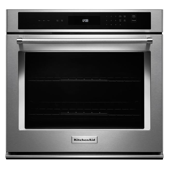KitchenAid 27 inch 4.3 cu.ft. Single Wall Oven with Even Heat Thermal Bake Broil in stainless steel KOST107ESS