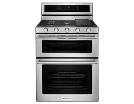 KitchenAid 30 inch 6.7 cu.ft. 5 burner dual fuel double oven convection range in stainless steel KFDD500ESS