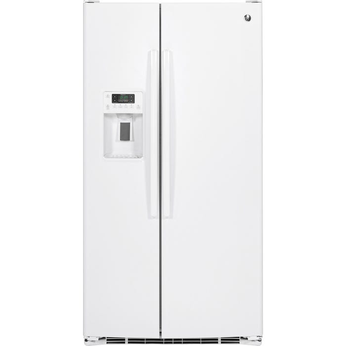 GE 36 inch 25.3 cu.ft. side-by-side refrigerator with water dispenser and icemaker in white GSE25GGHWW