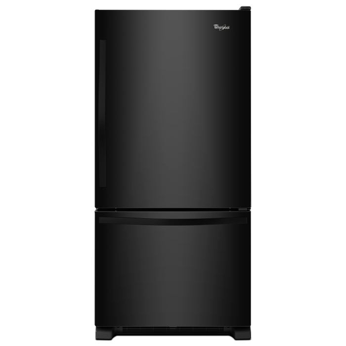Whirlpool 30 inch 19 cu.ft. Bottom Freezer Refrigerator with Freezer Drawer in black WRB329DFBB