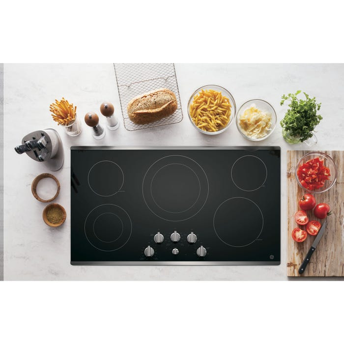 GE 36 inch Radiant Electric Cooktop with 5 Elements including Power Boil in Stainless Steel JP3536SJSS