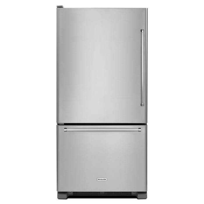 KitchenAid 33 inch 22 cu.ft. Full Depth Bottom Mount Refrigerator in stainless steel KRBL102ESS