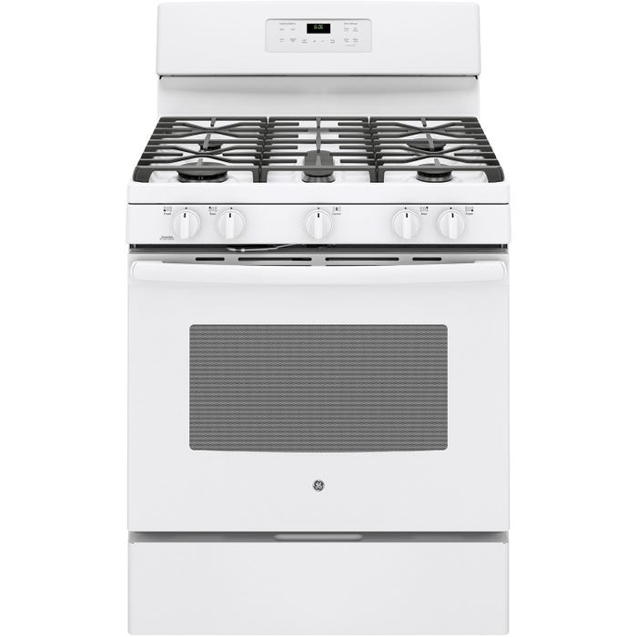 GE 30 inch 5.0 cu.ft. Free Standing Gas Range with Self Cleaning in white JCGB660DEJWW