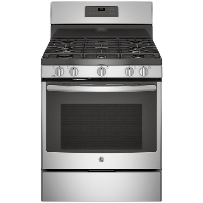 GE 30 inch 5 0 cu ft  Freestanding Self Clean 5-Burners Gas Range in  Stainless Steel JCGB660SEJSS