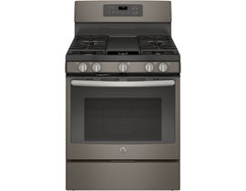 GE 30 inch 5.0 cu.ft. Freestanding Self Clean 5-Burners Convection Gas Range in Slate JCGB700EEJES