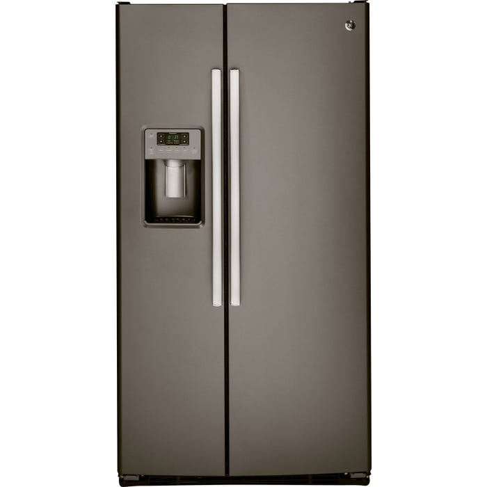 GE 33 inch 23.2 cu.ft. side-by-side refrigerator with water dispenser and icemaker in slate GSS23HMHES