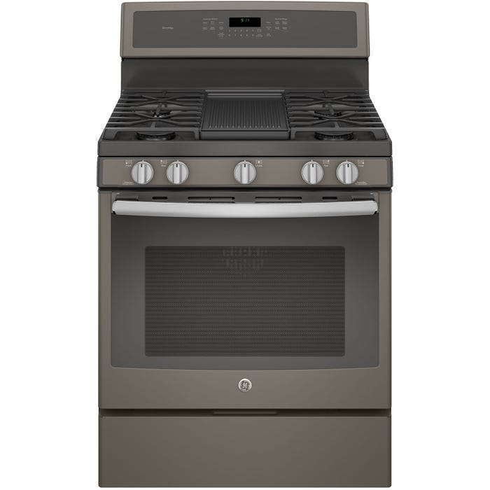 GE Profile 30 inch 5.6 cu.ft. Free Standing Convection Gas Range with Self Cleaning in slate PCGB911EEJES