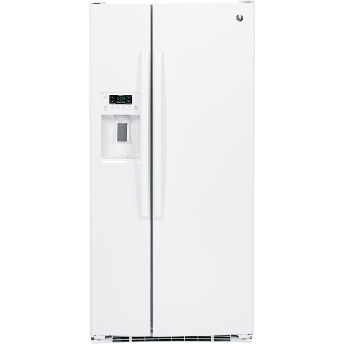 GE 33 inch 22.2 cu.ft. Side-by-Side Refrigerator with Water Dispenser and Icemaker in white GSS23HGHWW