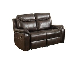 Kwality Courtney Leather Reclining Loveseat in Dark Brown