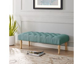 Brassex Fabric Tufted Accent Bench in Blue 6338
