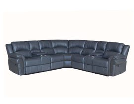 Fresh 3pc Leather Power Sectional in Grey 1007