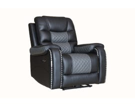 Fresh Leather Power Recliner in Black/Dark Grey 1008