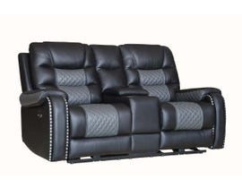 Fresh Leather Power Reclining Loveseat with Console in Black/Dark Grey 1008