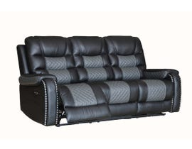 Fresh Leather Power Reclining Sofa in Black/Dark Grey 1008