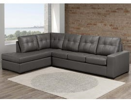 SBF Coral Collection 2pc LHF Leather Sectional in Zurick Grey 9883