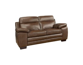 A&C Furniture Leather Loveseat in Saddle 1010